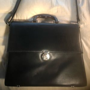 Lodis Black Leather Briefcase w/Rosewood Handle